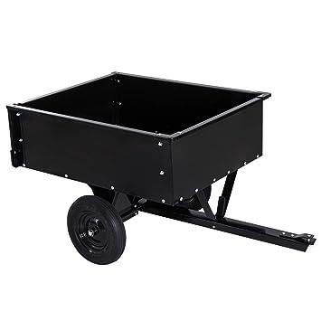 Outsunny Chariot Jardin/remorque basculante pour Tracteur 150L x 83l x 78H  cm Dispositif d\'attelage Universel Acier Noir