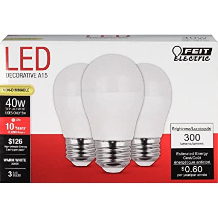 FEIT ELECTRIC A1540/10KLED/3 Non-Dimmable, 40 W, Led Bulb, 120 Vac, 300  Lumens, 3000 K, CRI >80, Warm White