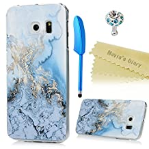 Mavis's Diary Galaxy S6 Edge Case Cool Blue Marble Watercolor Painting Print Pattern Ultra Slim Thin Lightweight Hard PC Cover for Samsung Galaxy S6 Edge G925 with Diamond Dust Plug & Feather Stylus