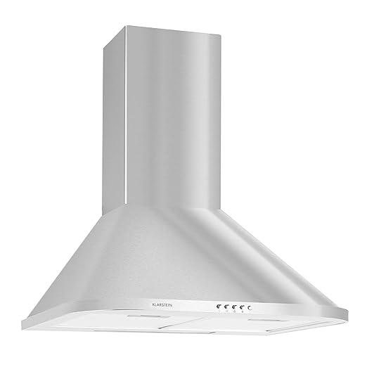 Klarstein Karajan 60 Cappa Aspirante da cucina a parete in acciaio (60 cm,  capacità di aspirazione pari a 340 m³/h, design arrotondato, filtri ...