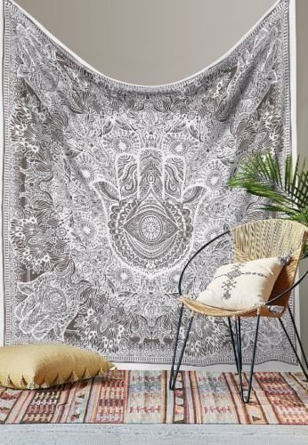 Cotton Tapestry Hanging - Black And White Indian Traditional Mandala Hippie Wall Hanging Cotton Tapestry Bohemian Bedspread (Sketched Hand Queen Size)