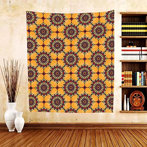 Gzhihine Custom tapestry Arabian Decor Collection Traditional Moorish Turkish Tangled Pattern and Geometric Lines Mosque Islamic Art Print Bedroom Living Room Dorm Tapestry Blue White by Gzhihine