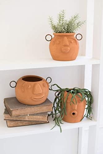 BORNEO DECOR H3319 Set of Three Funky FACE Clay PLANTERS