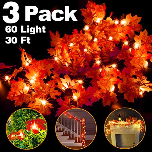 3 Pack Fall Maple String Light,Total 30Ft / 60 LED Lights Garland Wreath Decorations for Party Halloween Thanksgiving Christmas Festival Decor Indoor Home Outdoor Garden Patio Gift 3AA Battery Powered -