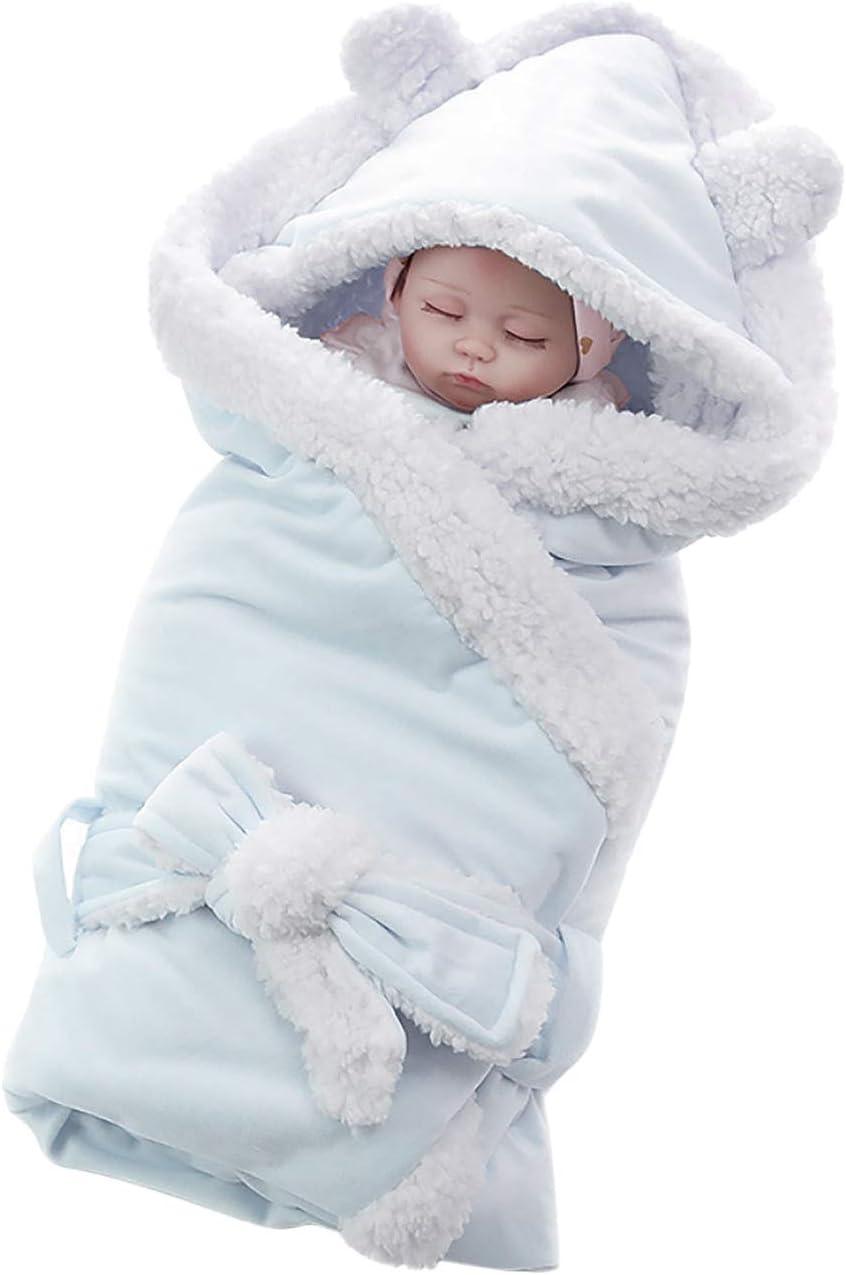 manta de recepci/ón para beb/é bolsa de playa de 75 x 75 cm para beb/és reci/én nacidos de 0 a 1 a/ño azul Pure Blue Manta suave para beb/é con capucha saco de dormir t/érmico de franela suave