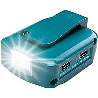 USB-adapter voor Makita accu 18 V ADP05 met led-werklicht en 1 poort DC 12 V 2 A & 2 USB-poorten (batterij niet…