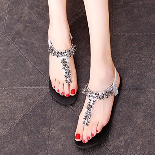 Transer® Ladies Diamonds Flat Sandals- Women Summer Sandals Comfortable Leisure Shoes Silver dKbzC