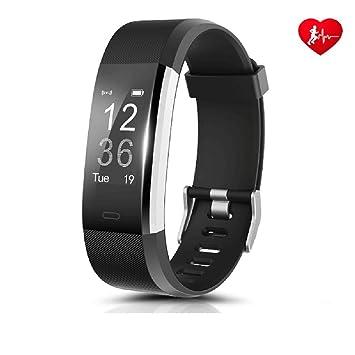 FONCBIEN Reloj conectable de pulsera para mujer y hombre con bluetooth - Reloj de deporte, smartwatch, con podómetro y pulsómetro para Android IOS ...