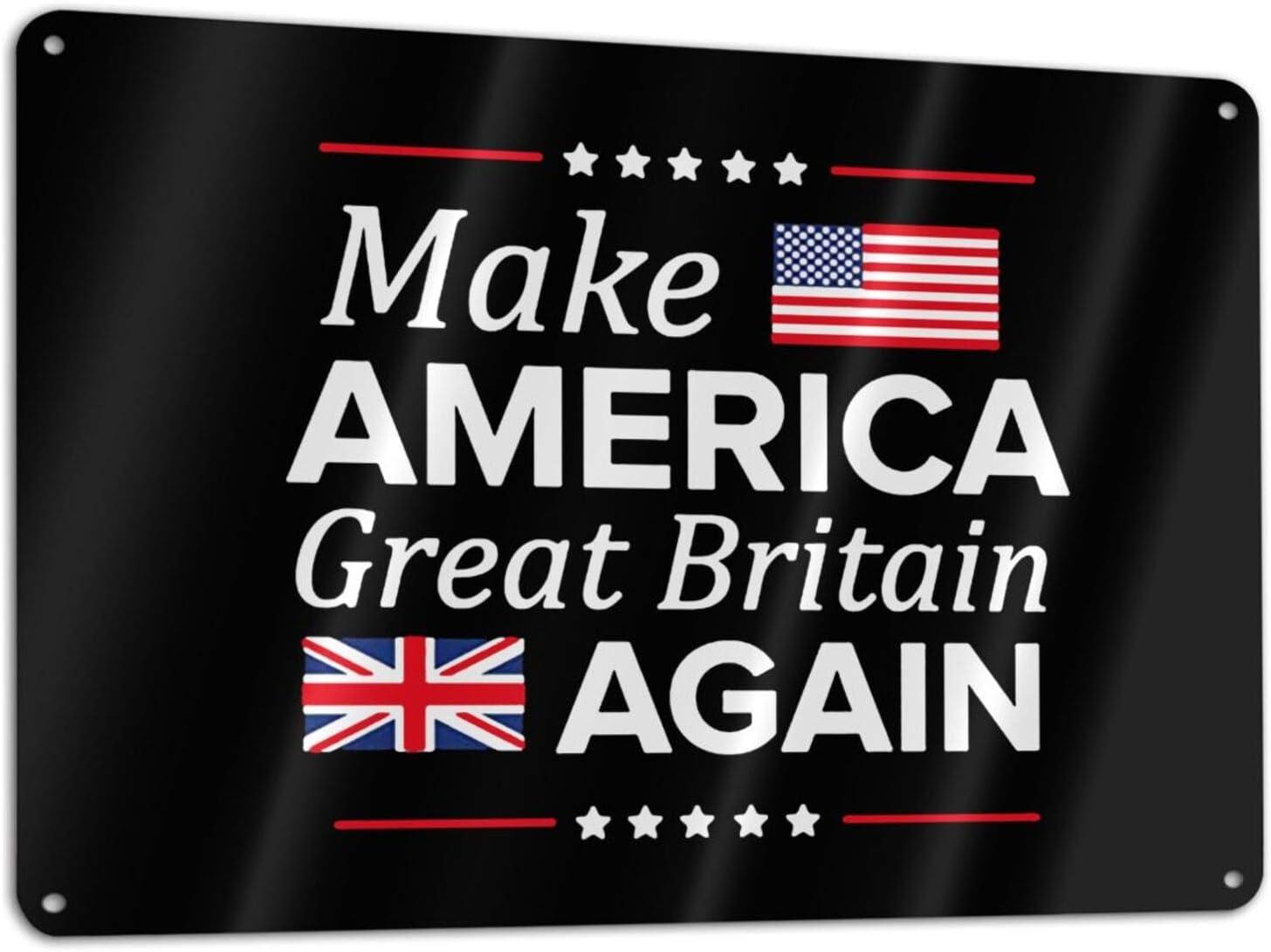 "ROLFUSHA Make America Great Britain Again Metal Tin Sign Wall Decor for Home Kitchen Garage Man Cave Cafe Bar 7.9""X11.8"""