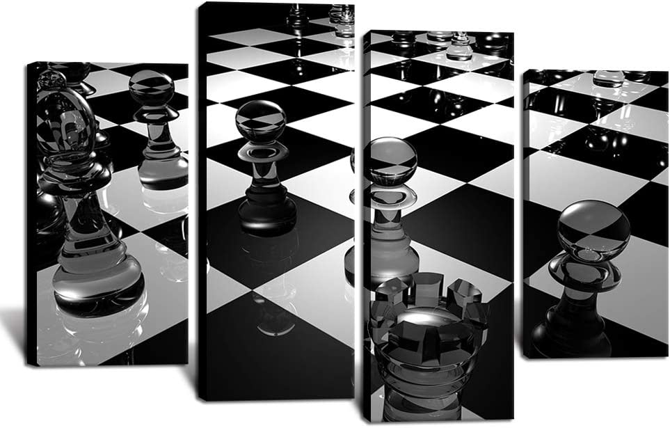 "Chess Room Decor Black and White Chess Poster Art Print on Canvas Stretched Framed Playroom Wall Decor Overall 48""x34"""