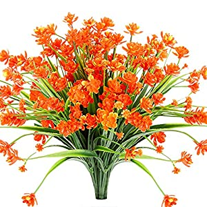TEMCHY Artificial Daffodils Fake Flowers, 4 Bundles Orange UV Resistant Faux Greenery Foliage Plants Shrubs for Garden, Wedding, Outside Hanging Planter, Farmhouse Indoor Outdoor Decor 10