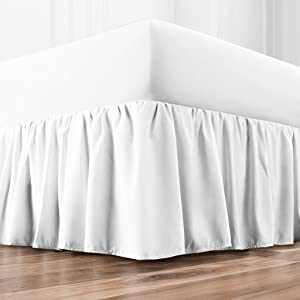 Zen Home Luxury Ruffled Bed Skirt - 1500 Series Luxury Brushed Microfiber w/Bamboo Blend Treatment - Eco-friendly, Hypoallergenic Dust Ruffle w/15 Drop - Queen - White
