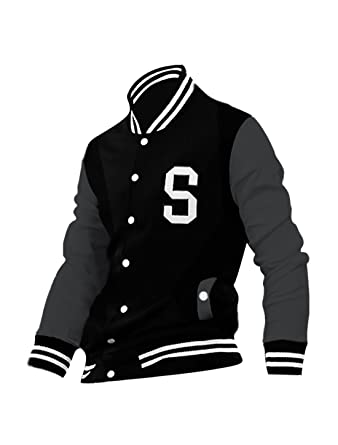 allegra k men long sleeves letter pattern button closed varsity jacket black s