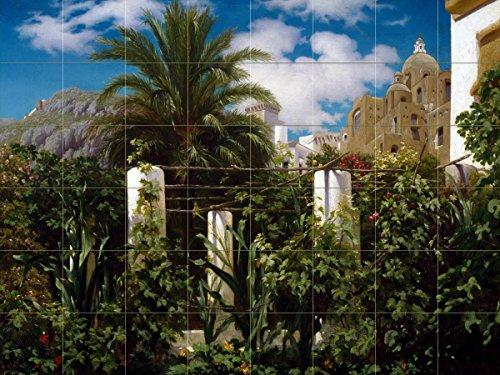 Tile Mural Garden of an Inn Capri landscape palm tree by Frederic Leighton Kitchen Bathroom Shower Wall Backsplash Splashback 8x6 6