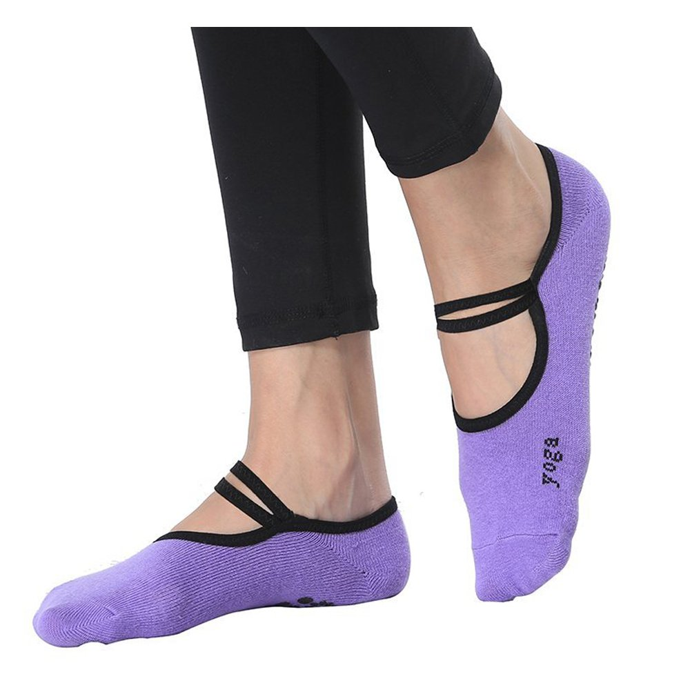 Grip Sock Anti-Skid Yoga Socks Pilates Ballet Socks Women's Barre Sock 2 Pair GoLoveY