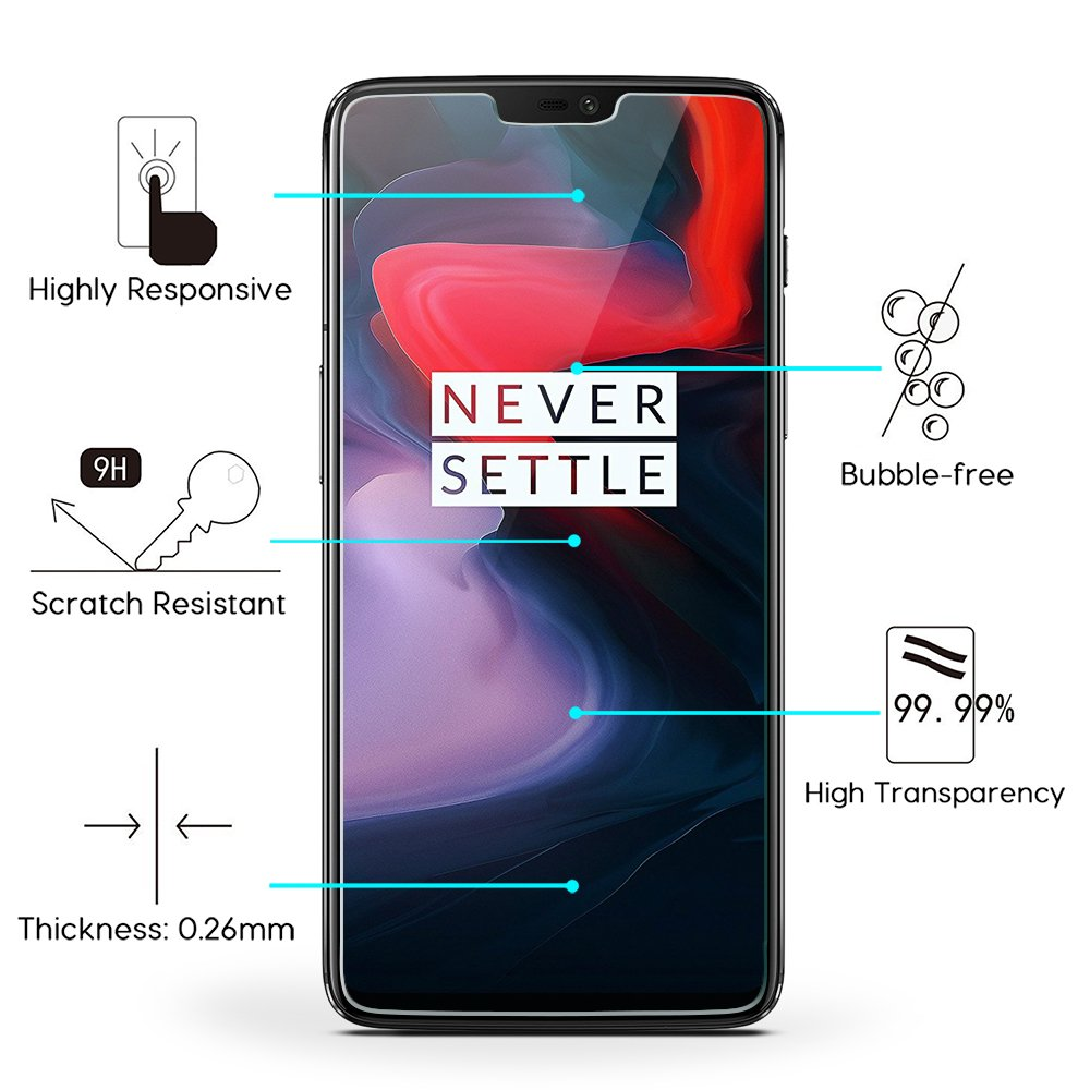 OMOTON OnePlus 6 Protector de Pantalla, Cristal Templado, Anti-arañazos, Sin Burbujas, Screen Protector para OnePlus 6 [3 Unidades]: Amazon.es: Electrónica