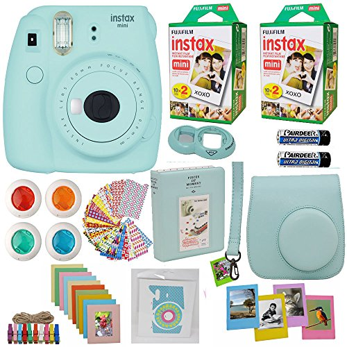 Fujifilm Instax Mini 9 Instant Camera Ice Blue + 2x Fuji Instax Film Twin Pack (40PK) + Blue Camera Case + Frames + Photo Album + 4 Color Filters And More Top Accessories Bundle by Abesons