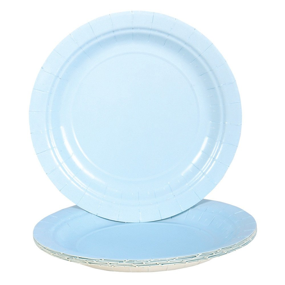 Amazon.com: Light Blue Paper Plates (Bulk Pack of 25 Plates): Toys ...