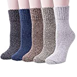 [UPGRADED]5 Pairs Womens Winter Super Soft Thick Warm Wool Knitting Casual Crew Socks