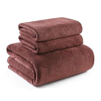SYXLTSH Toallas Toallas de baño Adultos masajes sábanas Toallas Gruesas algodón absorbentes Suaves Set marrón