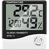 OurLeeme Temperatura Humedad Despertador Digital Interior Gran Pantalla LCD Higrómetro Termómetro Sensor para Oficina en casa