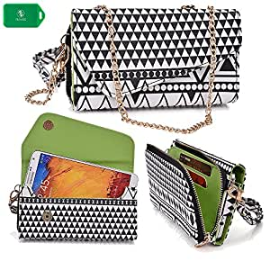 Celkon A119Q Signature HD | Ladies smartphone holder plus wallet w/ crossbody chain| black/white design|universal