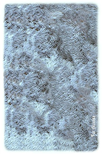 Acrylic Contemporary Rug (Plush Faux Fur - Shaggy Sheepskin Area Rug - Rectangle Shag- Designer Throw - Bonded Ultra Suede Lining (5'x7', Gray))