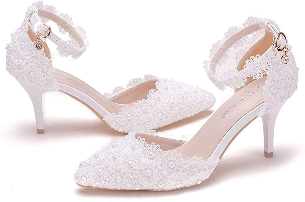 Women High Heels Sandals White Lace