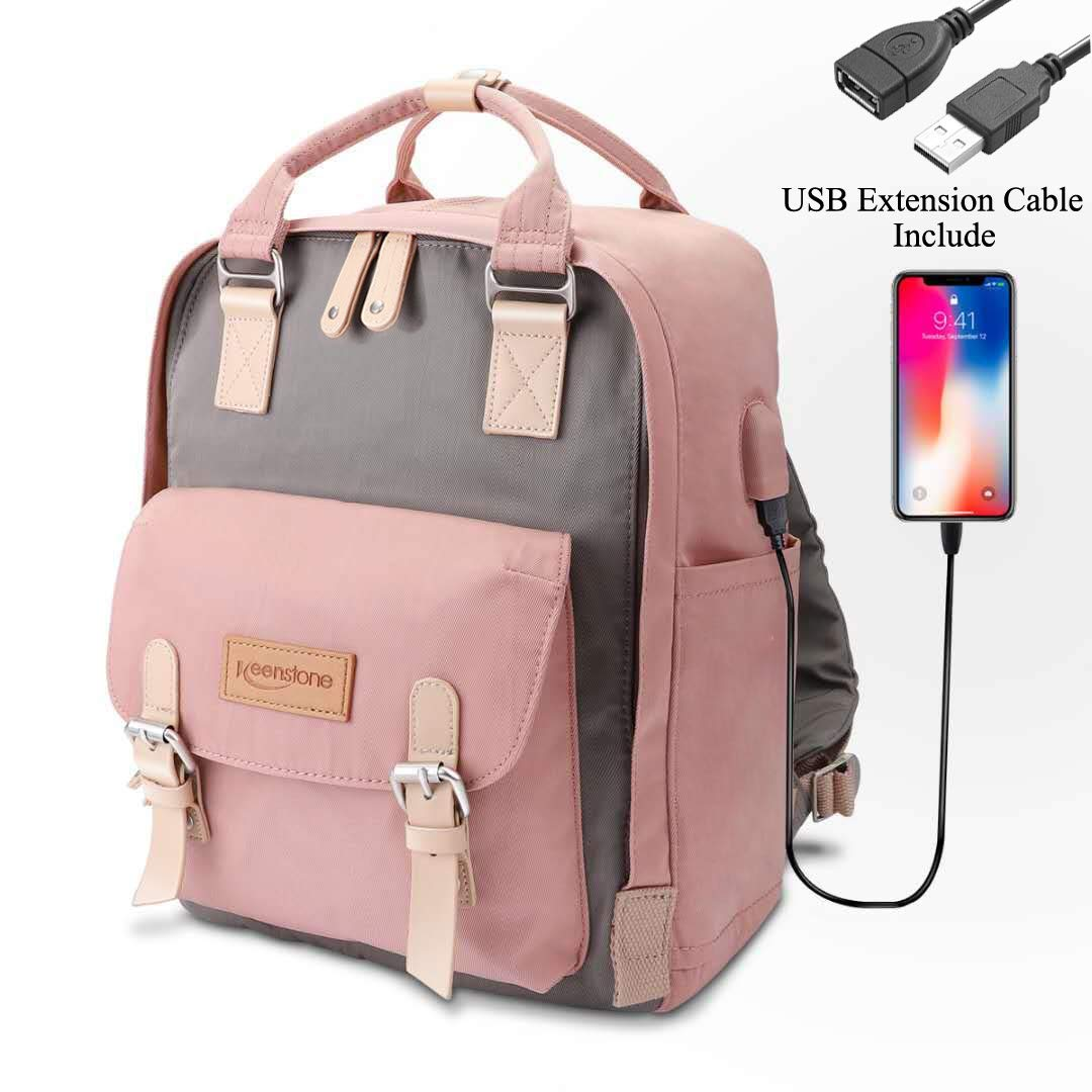 Keenstone Women's Laptop Backpacks, Travel Computer Backpacks with USB Charging Port for Women, Water Resistant College School Bookbag Fits 14 Inch Laptop and Notebook