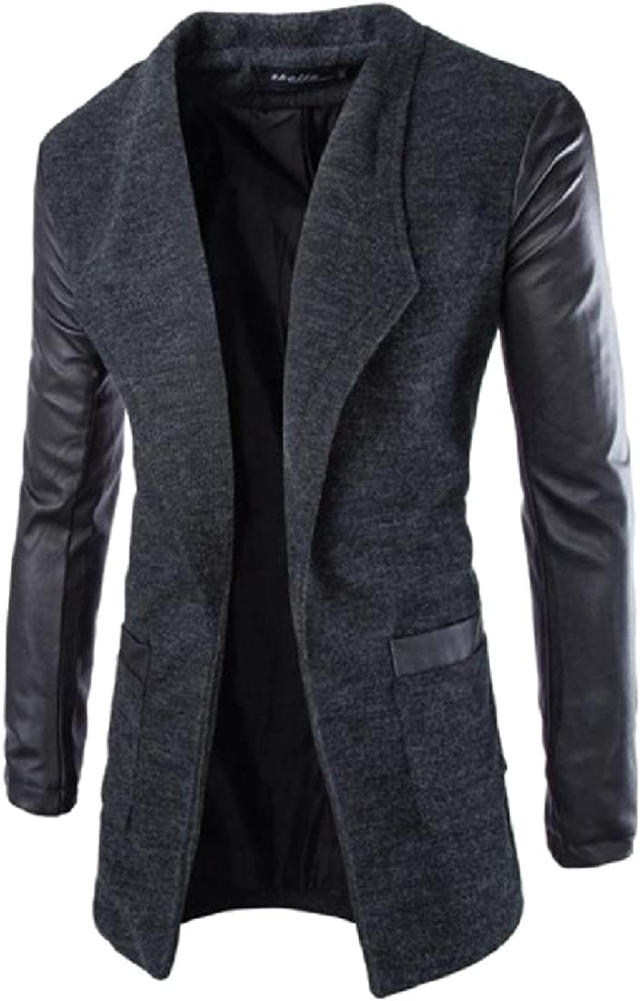 Comfy Men PU Leather Stitching Pocketed Leisure Woolen Long Overcoat
