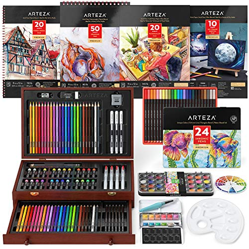 Arteza Art Kit, Includes Assorted Watercolors, Graphite and Colored Pencils, Oil Pastels, Fineliner Pens, Brushes, White…