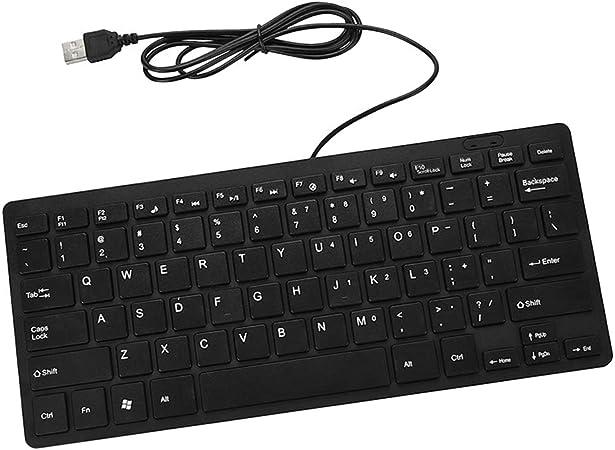 H HILABEE Mini Teclado USB con Cable 78 Teclas De Silencio del Teclado Multimedia para Computadora Portátil De Escritorio - Negro