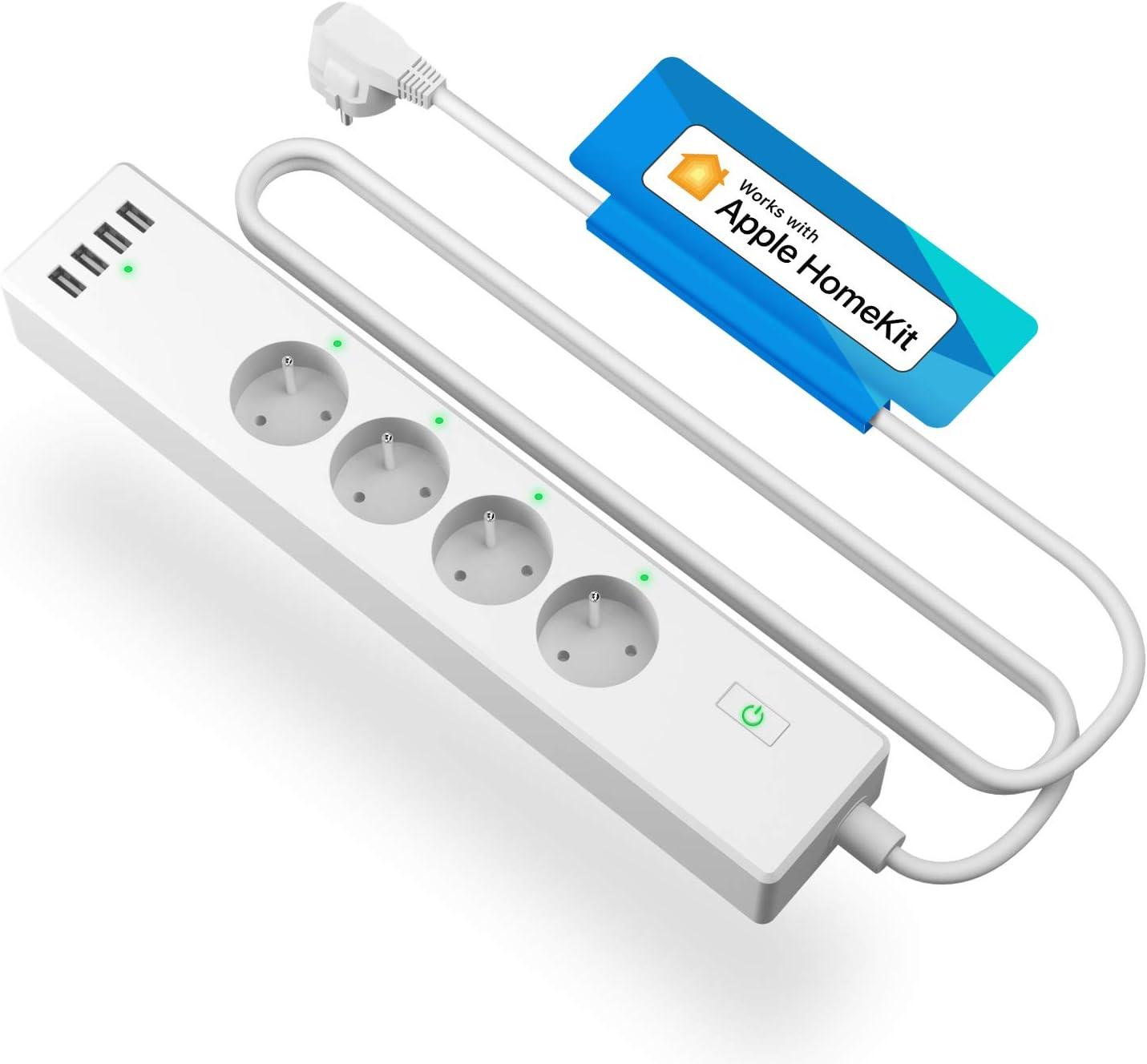 Multiprise Connectée HomeKit (FR), Multiprise Intelligente Compatible avec Apple HomeKit, Siri, Alexa,...