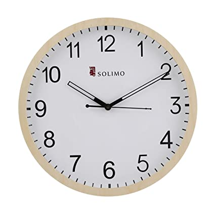 Buy Amazon Brand - Solimo 11.25-inch Wooden Wall Clock (Silent ...
