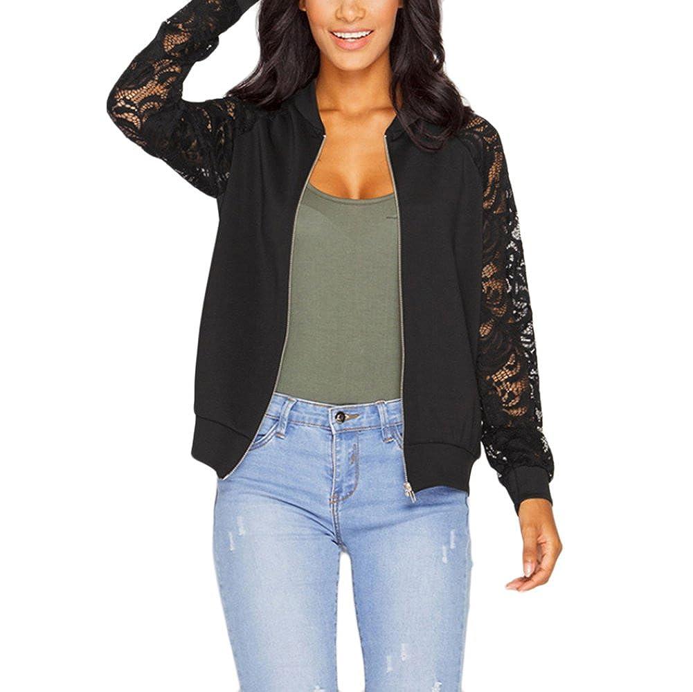 Zipper Lace Floral Short Casual Outerwear Coat Baseball Jacket Coat shantan