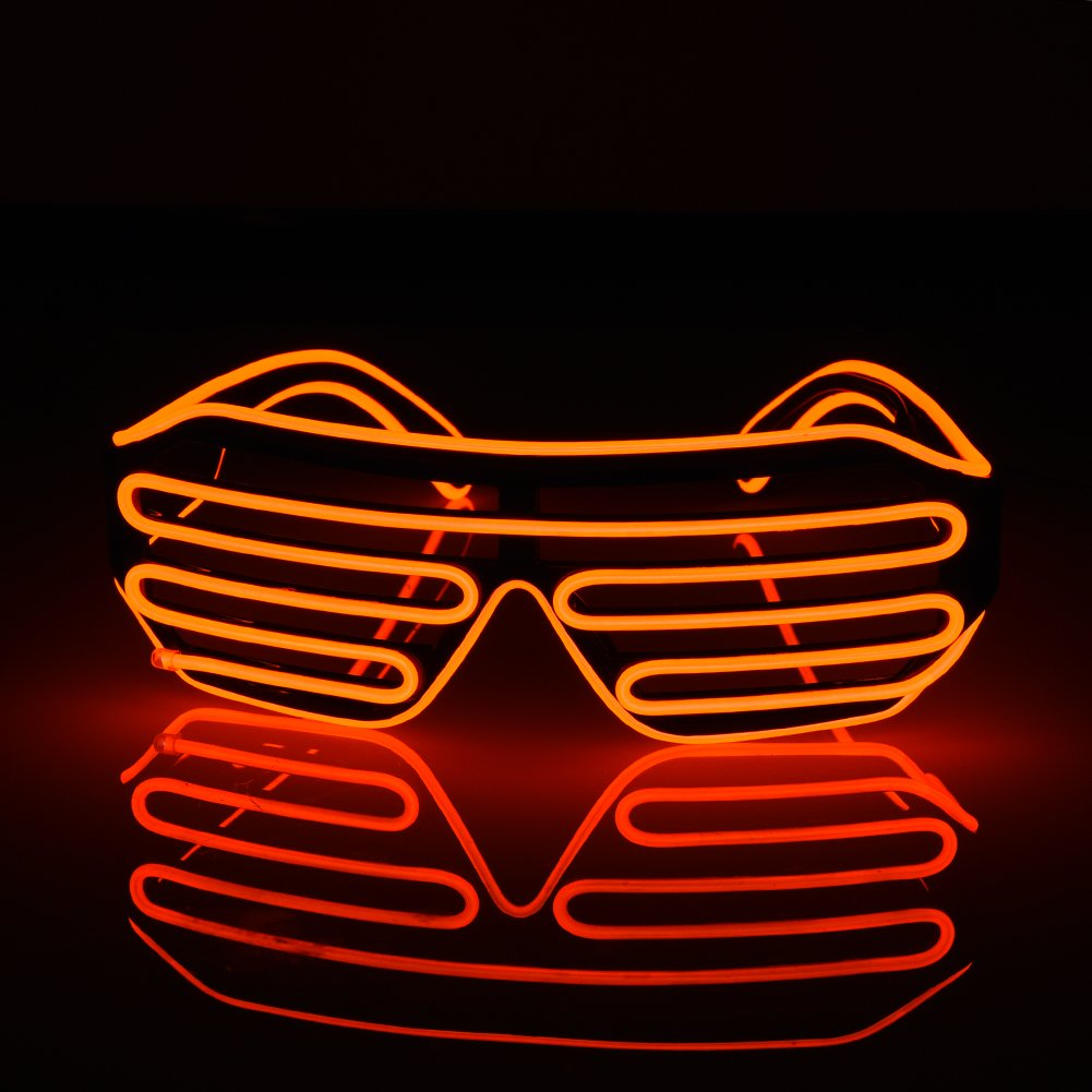 wonderfulwu LED EL Glasses, Shutter Shades for Bar Party Fluorescent Dance DJ Bright Glasses EL Wire Fashion Neon LED Light Glow Rave Costume Party Atmosphere Activing Props (Red)