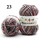 Newest range of Milk Cotton Blended Worsted weight 5Ply Yarn (Pack of 2) each 50 Grams Beautiful Mixed color for Crocheting/ Hand Knitting, Sweater, Baby Clothes, Doll, Blanket, Hats Socks and various other craft projects etc…Shade No - 23