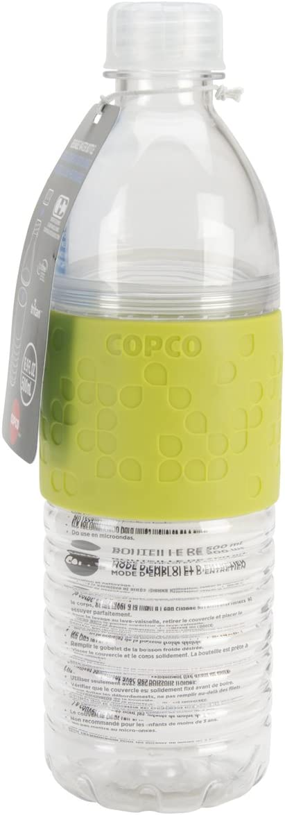 Copco S 2510-2293 Hydra Reusable Tritan Water Bottle with Spill Resistant Lid and Non-Slip Sleeve, 16.9-Ounce, Lime Green, BPA Free