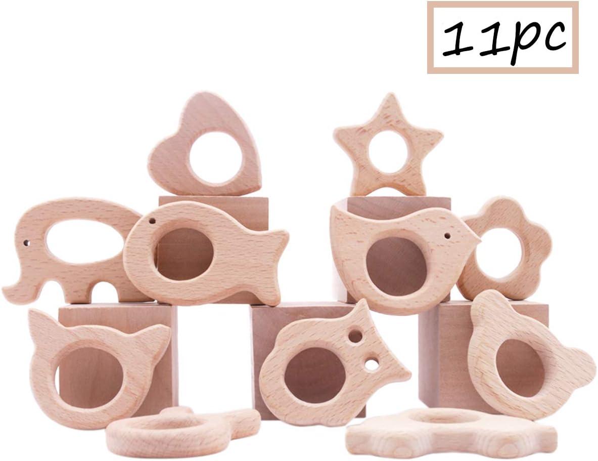Promise Babe 11pc de Mordedores de Madera Org/ánicos Accesorios de Joyer/ía de Dentici/ón de Madera Natural Desarrollo Motor Fino Montessori Toys Navidad//Regalo de Ducha