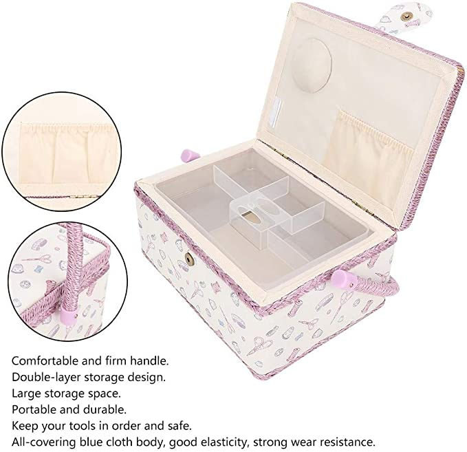 Pink Xinwoer Polyester Solid Frame Sewing Basket,Large Sewing Basket Household Fabric Craft Thread Needle Storage Box Organizer,Double-Layer Storage Fabric