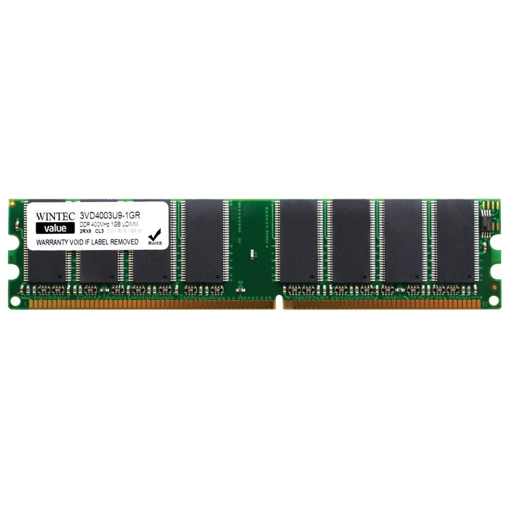 Wintec Value MHzCL3 1GB UDIMM Retail 2Rx8  (10) 1 Not a Kit (Single) DDR 400 (PC 3200) 184-Pin SDRAM 3VD4003U9-1GR