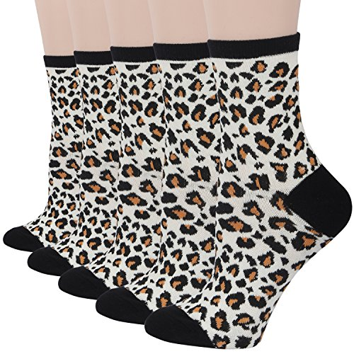 RioRiva Women Cotton Casual Tube Socks 1/2 Crew Colorful & Comfortable Designs Pack of 5 (US women's shoe size:US 5.5-9, WSK96-5 pack leopard print)