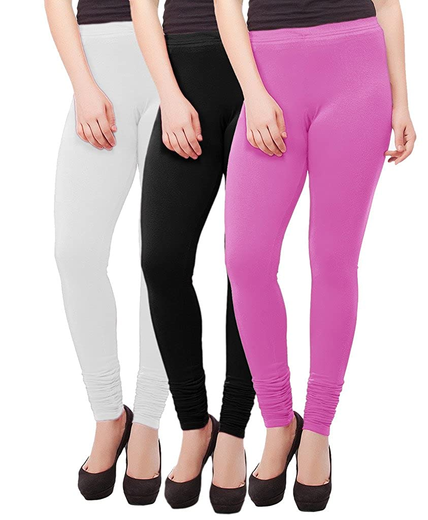 indiWeaves Premium Cotton Solid Colors Ankle Length Leggings Pack of 3