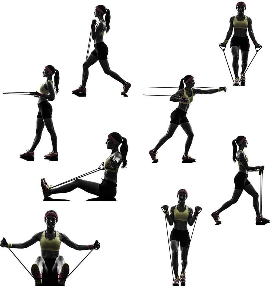 MOOHOP 120Cm Bandas Yoga De Resistencia Bandas El/áSticas Resistencia,Ejercicios F/íSicos Fitness Entrenamiento Juego De Cuerdas Gomas El/áSticas para Gym//Home,para Hombres Y Mujeres