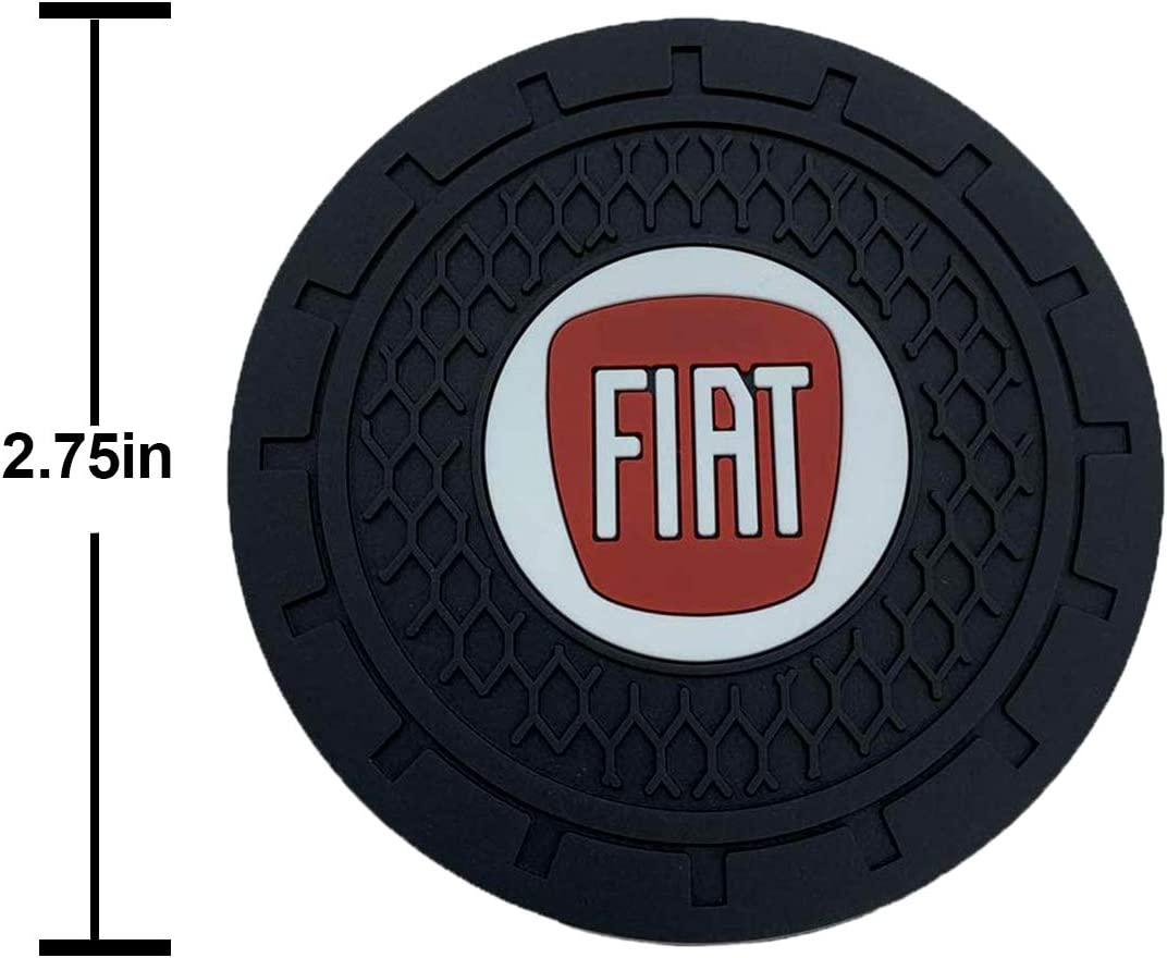 Fit Fi at Auto Sport 2.75 Inch Diameter Oval Tough Car Logo Vehicle Travel Auto Cup Holder Insert Coaster Can 2 Pcs Pack