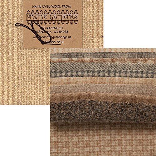 Primitive Gatherings Hand Dyed Wool Sheep Charm Pack 10 5-inch Squares PRI - Yarn Cotton Sheep Fleece Brown