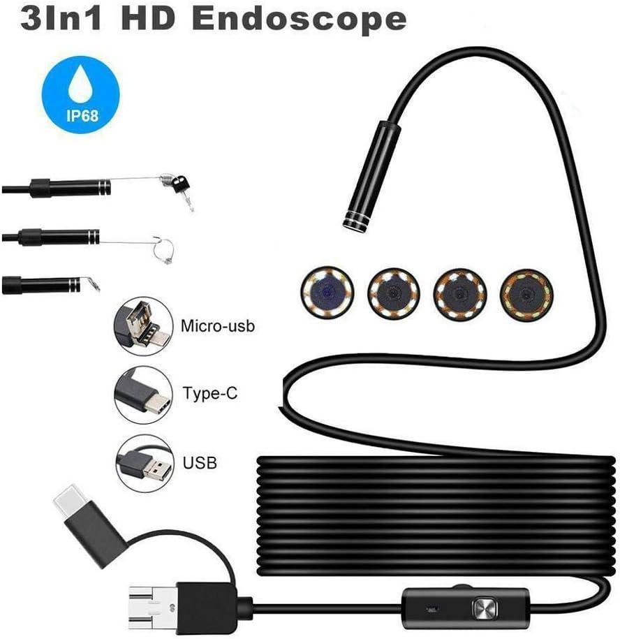 1200 p. Cicony HD Endoscopio da ispezione endoscopico con 8 luci LED regolabili per Android Phone PC Not null 1m
