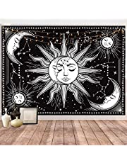 Hotmir Tapestry for Bedroom Aesthetic - Moon Tapestry Wall Hanging Wall Tapestry Black as Wall Art for Bedroom, Living Room, Dorm Decor - Printed Without Fringe