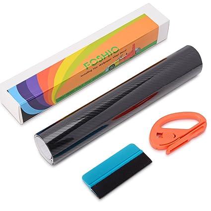 FOSHIO 5D Fibra de Carbono Película de Vinilos Kit de Envoltura con Autoadhesivo Película de Vinilo coche, Cuter de Papel Profesional, Espatulas de ...