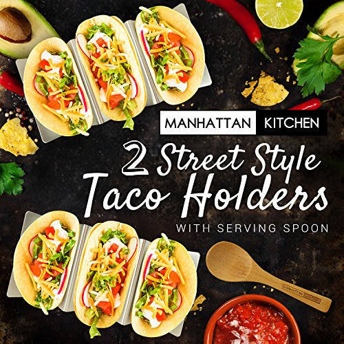 Taco Holder Stand (2 Platter Set) w/Serving Spoon - Fun Street Style Stainless Steel Metal Server Tray & Tortilla Warming Kit + Utensil for Soft & Hard Shell Prep Accessories by Manhattan Kitchen by Midelo (Image #1)